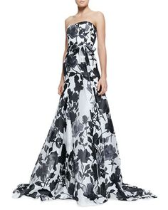 Strapless Belted Rose-Print Ball Gown by Carolina Herrera at Neiman Marcus.