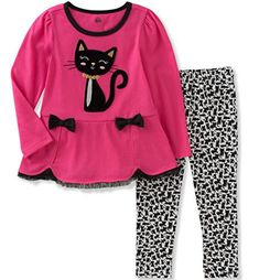 Shop for Pink Cat Tunic & Leggings - Infant, Toddler & Girls by Kids Headquarters at ShopStyle. Little Girl Outfits, Toddler Girl Outfits, Baby Girl Dresses, Baby Dress, Baby Girls, Toddler Girls, Girls 4, Tunic Leggings, Tops For Leggings