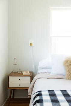modern bedroom in glendale california / sfgirlbybay / Irene sconce  Buffalo check thrown by Schoolhouse Electric
