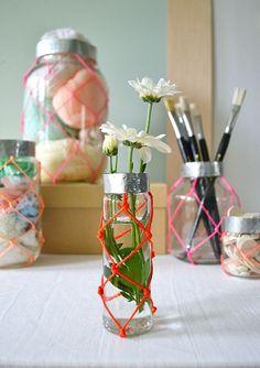 DIY neon macrame jars