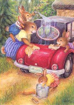 Happy family. Bunnies washing their car on a warm sunny day. Susan Wheeler