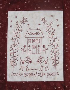 The House on the Side of the Hill: Christmas Sewing Christmas Embroidery Patterns, Hand Embroidery Patterns, Vintage Embroidery, Embroidery Applique, Cross Stitch Embroidery, Quilt Patterns, Machine Embroidery, Red Work Embroidery, Primitive Stitchery