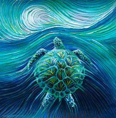 The Energy Art Store By Julia Watkins — Turtle Spirit Energy Painting - Giclee Print Animals Drawing Images, Animal Drawings, Art Drawings, Sea Turtle Art, Sea Turtles, Sea Turtle Painting, Octopus Painting, Turtle Images, Art Store
