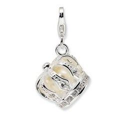 Amore La Vita 925 Silver Enameled Fw Cult Pearl Sw Crystal Frog w//Lobster Charm
