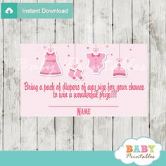 Printable pink baby girl clothes baby shower game Diaper Raffle Tickets. #babyprintables