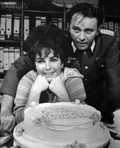 Elizabeth Taylor with Birthday Cake from Richard Burton