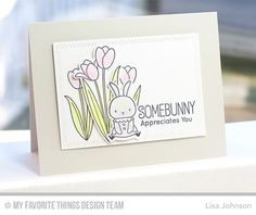 Somebunny, Spring Tulips stamp set and Die-namics, Inside & Out Diagonal Stitched Rectangle STAX Die-namics - Lisa Johnson #mftstamps
