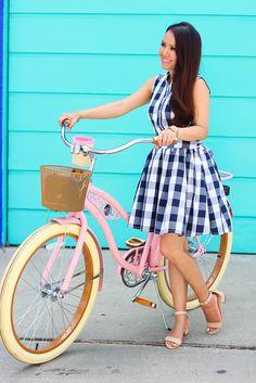 StylishPetite.com | Navy Check Print Dress and Pink Cruiser Bike