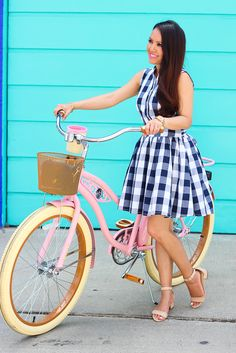 StylishPetite.com   Navy Check Print Dress and Pink Cruiser Bike