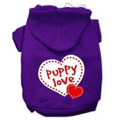 Puppy Love Screen Print Pet Hoodies Purple Size XS (8)