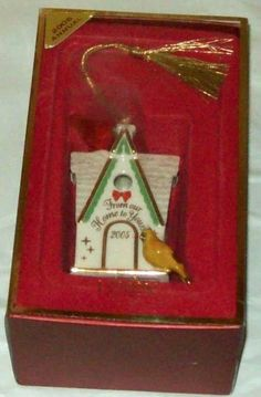 """Lenox 2005 Annual Ornament """"From Our Home to Yours"""" Bird House."""