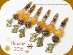 Handmade Christmas Ornaments.  Amber.  Set of 6.  SHOP:https://www.etsy.com/shop/MyCreativeSideJewels