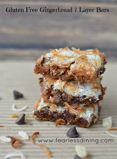 If you are looking for the ultimate holiday cookie, try these gluten free and egg free gingerbread 7 layer bars. Perfect for cookie swaps and bake sales.