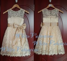 Champagne Lace Flower Girl Dress Country Ivory by WhiteValentine, $69.00