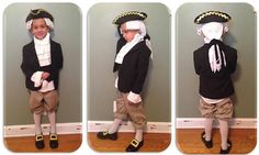 George Washington, History Day at Stratford Classical Christian Academy, made by Carmen Sánchez-Buster, Felt and Yarn for the hair (attached to hat), old hat painted black, gold trim, foam paper for the shoe buckle, recycled woman's jackets (white; for the ruffles), kids tuxedo (only some stitching so not to ruin the jacket)