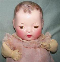 vintage effannbee dydee doll | VINTAGE EFFANBEE DY-DEE BABY 11 INCH MOLDED HAIR DOLL TRUNK BOX BLOWS ...