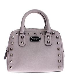 Another great find on #zulily! Pearl Gray Studded Mini Leather Satchel #zulilyfinds