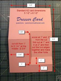 Need Measurements to make Dresser Card?  Well, here you go. Have fun creating your own Dresser Card!