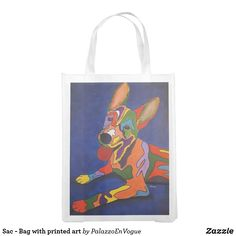 Sac - Bag with printed art Reusable Tote Bags, Printed, Dogs, Art, Style, Art Background, Swag, Pet Dogs, Kunst