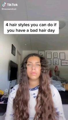 Curly Hair Tips, Easy Hairstyles For Long Hair, Curly Hair Styles, Cool Hairstyles, Easy School Hairstyles, Hair Tips Video, Hair Videos, Hair Upstyles, Aesthetic Hair