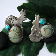 Bunny  Royston turquoise rings by 6shadowsjewelry