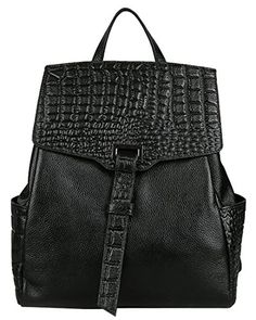8654f740661 Amazon.com  Heshe® New Lady s Double Use Fashion Crocodile Sling Tote Top  Handle Bag Backpack School Bag Travelling Purse Women s Handbag (Black)   Clothing