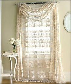 Drapes curtains swag lace Yummy vintage whites white decor romantic prairie farmhouse cottage style