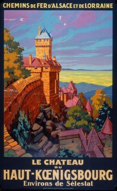 Vintage Travel Poster by S. Commermond: Chateau Haut-Koenigsbourg, France