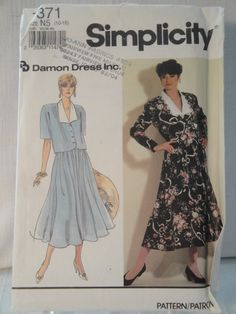 Simplicity 7371 Miss 10 12 14 16 18 Two-Piece Dresses 1991 - pinned by pin4etsy.com