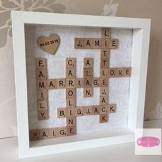 Hey, I found this really awesome Etsy listing at https://www.etsy.com/listing/205571556/scrabble-tiles-framed-picture-wedding