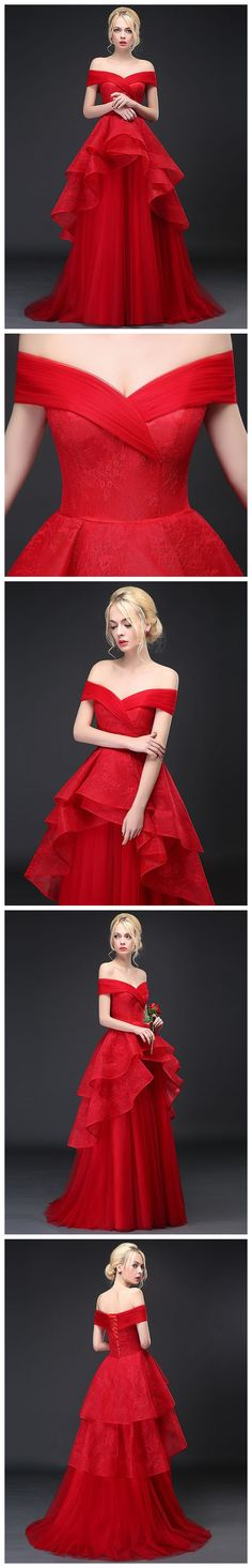 CHIC A-LINE RED #OFFTHESHOULDER #TULLE LACE LONG PROM DRESS EVENING DRESS AM735 #amyprom #fashion #party #evening #chic #promdress #promdresslong #longpromdress #eveningdress #red