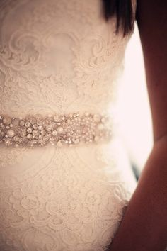 Lace Bridal Dress With Rhinestone Bridal Belt