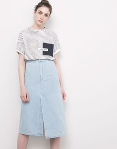 LONG DENIM SKIRT WITH CENTRE OPENING - DENIM COLLECTION - WOMAN - PULL&BEAR Indonesia