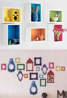 Rainbow Wall Shelves and Rainbow Picture Sticker Frames; My kitchen cabinets/shelves might look like that, if not my bookshelves as well. I won't have sticker frames as they don't always stay sticky, but I like the idea of the picture frames being all different colors of the rainbow.