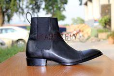 New Handmade Custom Mens Black Chelsea Real Leather Boots, Men Black boots #Handmade #AnkleBoots