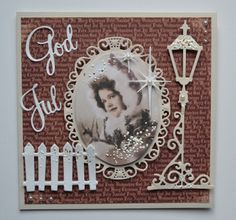 handmade Christmas card ... Vintage photo ... beautiful die cut decorations ... square format ... luv it!