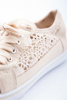 Cute and Quaint Crotchet Sneakers - Beige  Don't be afraid to rock head to toe knit fashion with these crotchet sneakers! These lace up knit sneakers have a light, summery look that will last you the season!  $12.99