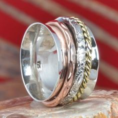 LATEST 925 SOLID STERLING SILVER THREE TONE SPINNER RING 7.31g DJR11346 SZ-6.5 #Handmade #Ring