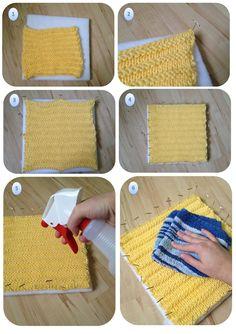 Tutorial: Blocking Acrylic Yarn: