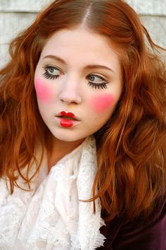 doll costume makeup step by step - WHAT!? Halloween maybe, but this girl looks like it's just a regular day. WTF?!