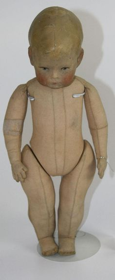 Kathe Kruse cloth doll - froghand, stitched cloth body, a094 on foot. $3500 - by Merrill's Auction Gallery