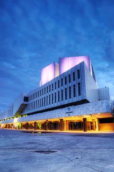 HDR photo of Finlandia Hall (Finlandia-talo) by blue hour in Töölö district of Helsinki, Finland
