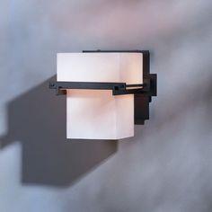 Hubbardton Forge Kakomi 1 Light Wall Sconce Finish: Natural lron, Shade Color: Opal