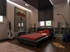 Astounding Gray Wall Paint Cool Bedrooms For Boys With Amazing Black Leather Bed Frame On Combined Soft Red Mattress Plus Cozy Red Pillows And Simple White Wooden Wall Mounted Bookshelf Small Also Classic Style Dark Brown Wooden Floor