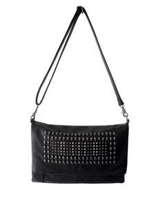 Vintage Black PU Leather Shoulder Bags with Skull Embellishment