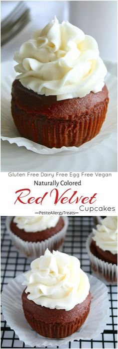 Gluten Free Red Velvet Cupcakes Recipe (vegan dye-free)- Naturally colored red velvet cupcakes made dairy free, egg free and Vegan. Food Allergy friendly! #valentinesday