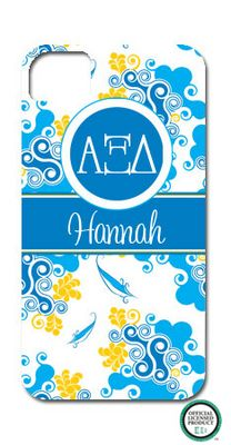 Alpha Xi Delta Swirl Cell Phone Case but with Sarah
