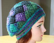 Woman Crochet Slouchy Hat,Crochet Entrelac Slouchy Hat,Chunky Slochy Hat,Women's Slouchy Hat,Multicolour Slouchy Hat,Crochet Hat,Chunky Hat