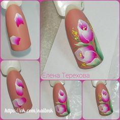 Маникюр пошагово Uñas One Stroke, One Stroke Nails, Tulip Nails, Flower Nails, Nails First, Nails Only, Gel Nail Art, Easy Nail Art, Flower Nail Designs