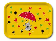 Moomin - Wooden tray -Little My Umbrella- yellow, 27x20 cm (Opto Design) [101-16]